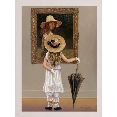 'Girl In Museum' Graphic Art Print Format: White Wood Medium Framed Paper