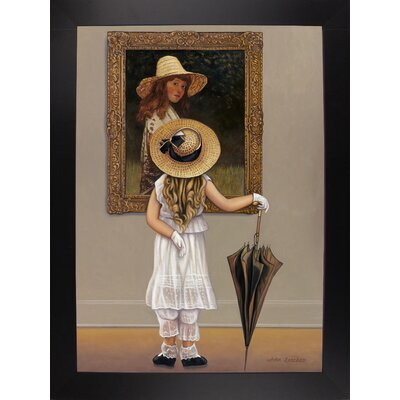 'Girl In Museum' Graphic Art Print Format: Black Wood Large Framed Paper