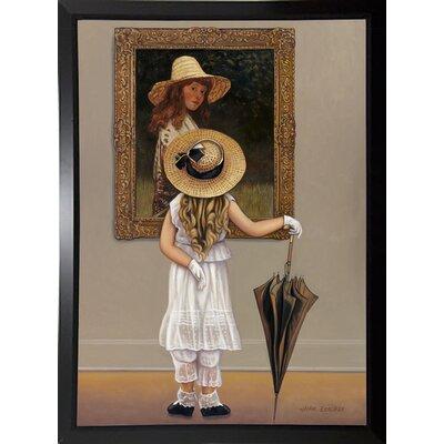 'Girl In Museum' Graphic Art Print Format: Black Plastic Framed Paper
