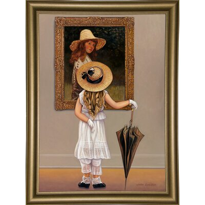 'Girl In Museum' Graphic Art Print Format: Bistro Gold Framed Paper