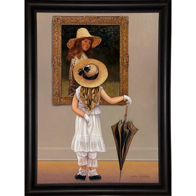 'Girl In Museum' Graphic Art Print Format: Bistro Expresso Framed Paper