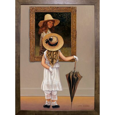 'Girl In Museum' Graphic Art Print Format: Cafe Mocha Framed Paper