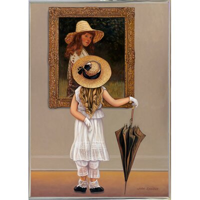 'Girl In Museum' Graphic Art Print Format: Silver Metal Framed