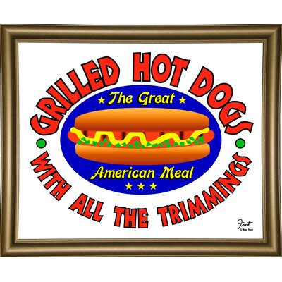 "'Grilled Hot Dogs' Graphic Art Print Size: 15.5"" H x 19"" W x 2"" D, Format: Bistro Gold Framed Paper ESUN6397 44159333"
