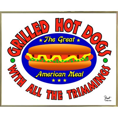 "'Grilled Hot Dogs' Graphic Art Print Size: 15.5"" H x 19"" W x 2"" D, Format: Gold Metal Framed Paper ESUN6397 44159336"