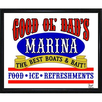 'Good Ol Dads Marina' Textual Art Format: Flat Black Metal Framed Paper, Size: 16.25