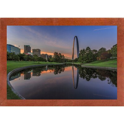 'Gateway Arch Reflection Sunset' Photographic Print Format: Canadian Walnut Medium Framed, Size: 12.75