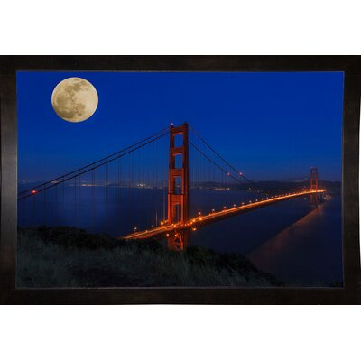 'Golden Gate Bridge Full Moon' Photographic Print Format: Black Medium Wood Framed, Size: 11