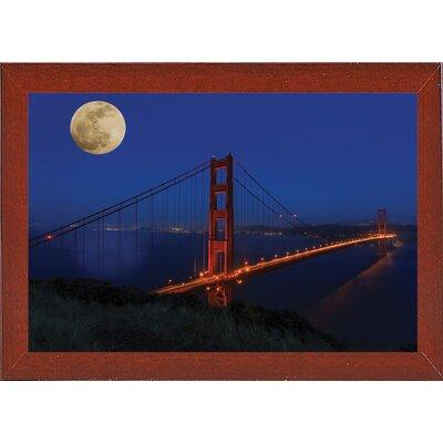 'Golden Gate Bridge Full Moon' Photographic Print Format: Red Mahogany Medium Framed, Size: 11