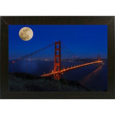 'Golden Gate Bridge Full Moon' Photographic Print Format: Brazilian Walnut Medium Framed, Size: 11