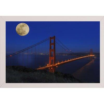 'Golden Gate Bridge Full Moon' Photographic Print Format: White Medium Framed, Size: 11
