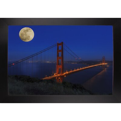 'Golden Gate Bridge Full Moon' Photographic Print Format: Black Large Wood Framed, Size: 11