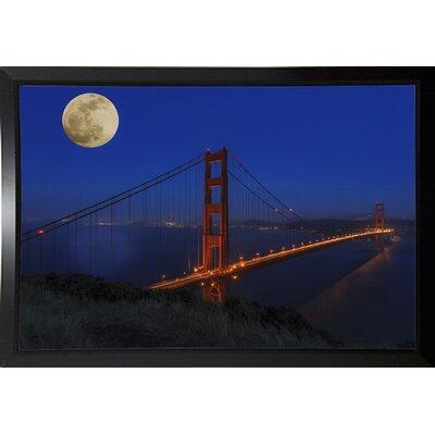 'Golden Gate Bridge Full Moon' Photographic Print Format: Black Plastic Framed, Size: 11