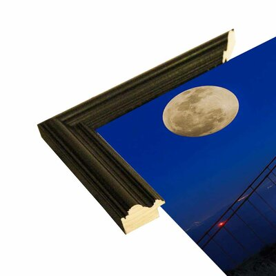 'Golden Gate Bridge Full Moon' Photographic Print Format: Black Grande Wood Framed, Size: 11