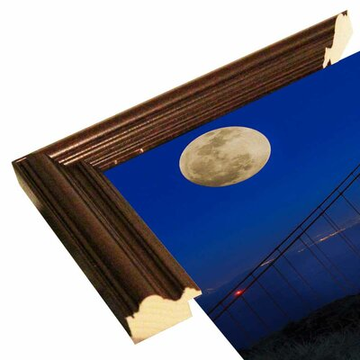 'Golden Gate Bridge Full Moon' Photographic Print Format: Cherry Grande Wood Framed, Size: 11
