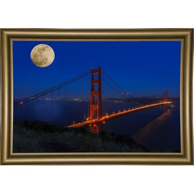 'Golden Gate Bridge Full Moon' Photographic Print Format: Bistro Gold Wood Framed, Size: 11