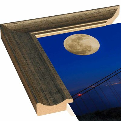 'Golden Gate Bridge Full Moon' Photographic Print Format: Canvas Black Floater Framed, Size: 11