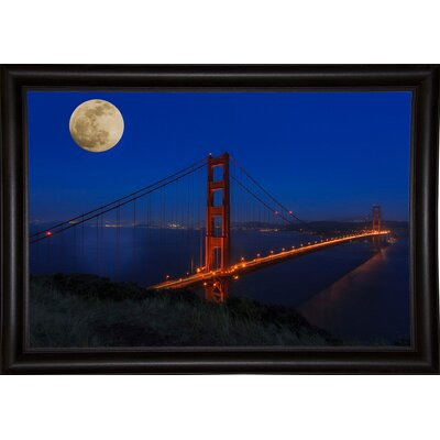 'Golden Gate Bridge Full Moon' Photographic Print Format: Bistro Expresso Wood Framed, Size: 11
