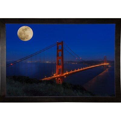 'Golden Gate Bridge Full Moon' Photographic Print Format: Cafe Espresso Wood Framed, Size: 11