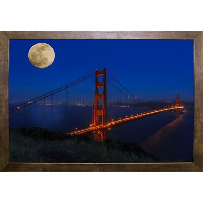 'Golden Gate Bridge Full Moon' Photographic Print Format: Cafe Mocha Wood Framed, Size: 11