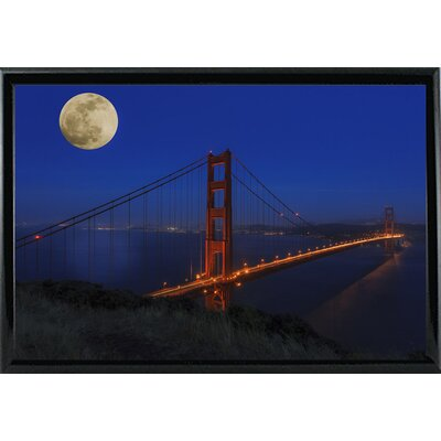 'Golden Gate Bridge Full Moon' Photographic Print Format: Black Metal Framed, Size: 11