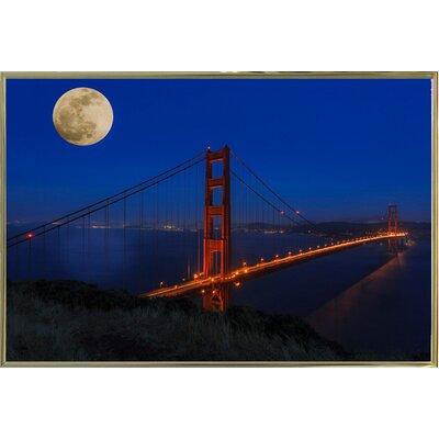 'Golden Gate Bridge Full Moon' Photographic Print Format: Gold Metal Framed, Size: 11