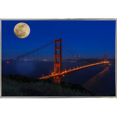 'Golden Gate Bridge Full Moon' Photographic Print Format: Silver Metal Framed, Size: 11