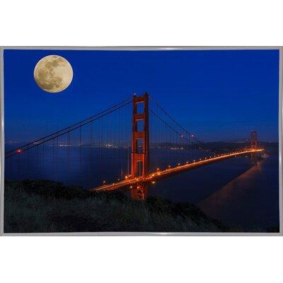 'Golden Gate Bridge Full Moon' Photographic Print Format: White Metal Framed, Size: 11
