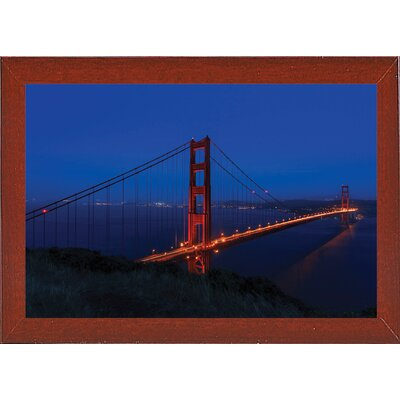 'Golden Gate Bridge at Night' Photographic Print Format: Red Mahogany Medium Framed, Size: 11