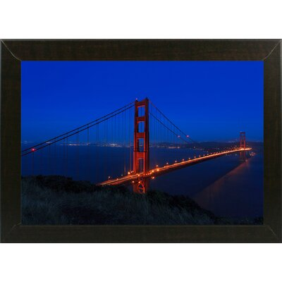 'Golden Gate Bridge at Night' Photographic Print Format: Brazilian Walnut Medium Framed, Size: 11