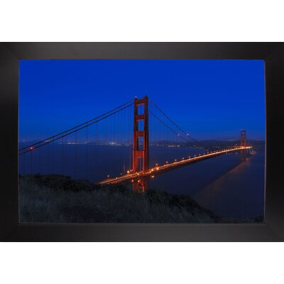 'Golden Gate Bridge at Night' Photographic Print Format: Black Large Wood Framed, Size: 11