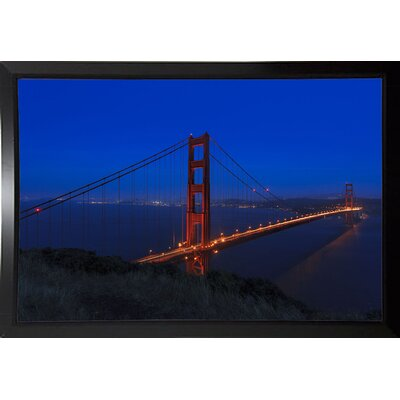 'Golden Gate Bridge at Night' Photographic Print Format: Black Plastic Framed, Size: 11