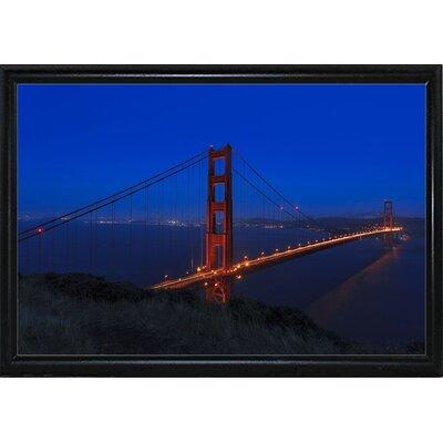'Golden Gate Bridge at Night' Photographic Print Format: Flat Black Metal Framed, Size: 11