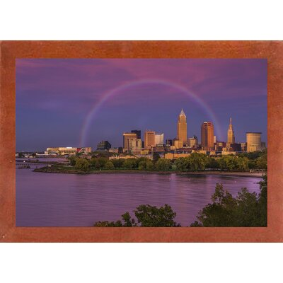'Rainbow over Cleveland' Graphic Art Print Format: Canadian Walnut Medium Framed, Size: 12