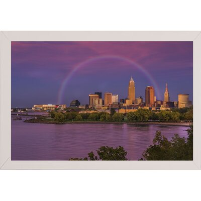 'Rainbow over Cleveland' Graphic Art Print Format: White Medium Wood Framed, Size: 12