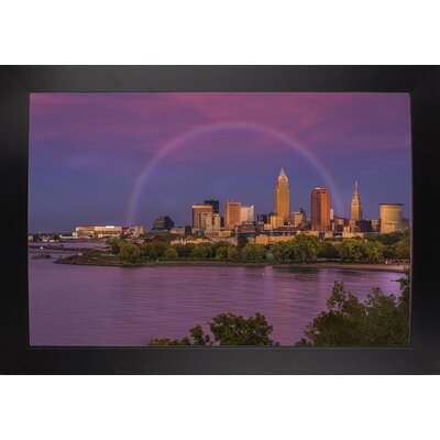 'Rainbow over Cleveland' Graphic Art Print Format: Black Large Wood Framed, Size: 12