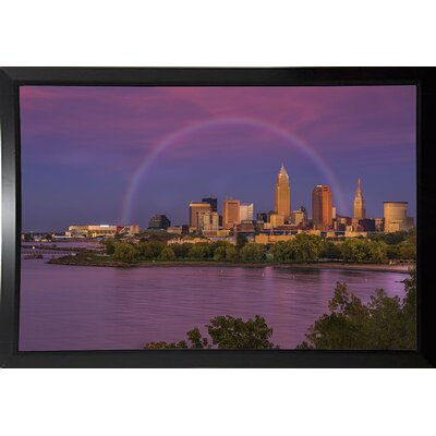 'Rainbow over Cleveland' Graphic Art Print Format: Black Plastic Framed, Size: 12