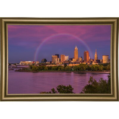 'Rainbow over Cleveland' Graphic Art Print Format: Bistro Gold Wood Framed, Size: 12