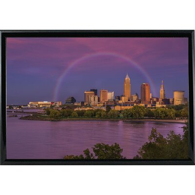 'Rainbow over Cleveland' Graphic Art Print Format: Black Metal Framed, Size: 12