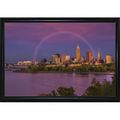 'Rainbow over Cleveland' Graphic Art Print Format: Flat Black Metal Framed, Size: 12