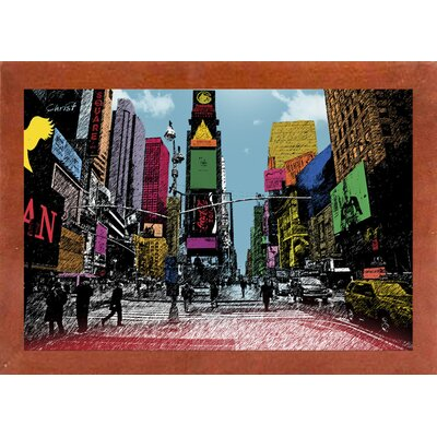 'Times Square' Graphic Art Print Format: Affordable Canadian Walnut Medium Framed Paper, Size: 14.5