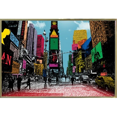 'Times Square' Graphic Art Print Format: Gold Metal Framed Paper, Size: 14.5