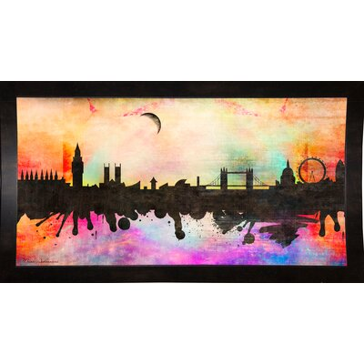 'London 1' Graphic Art Print Format: Affordable Black Medium Framed Paper, Size: 15.5