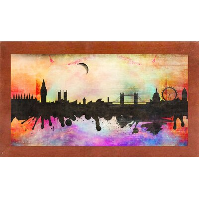 'London 1' Graphic Art Print Format: Affordable Canadian Walnut Medium Framed Paper, Size: 15.5