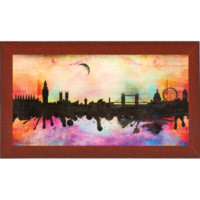 'London 1' Graphic Art Print Format: Affordable Red Mahogany Medium Framed Paper, Size: 15.5