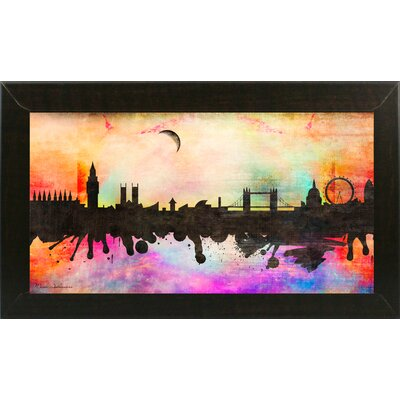 'London 1' Graphic Art Print Format: Affordable Brazilian Walnut Medium Framed Paper, Size: 15.5
