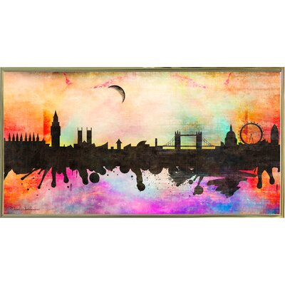 'London 1' Graphic Art Print Format: Gold Metal Framed Paper, Size: 15.5