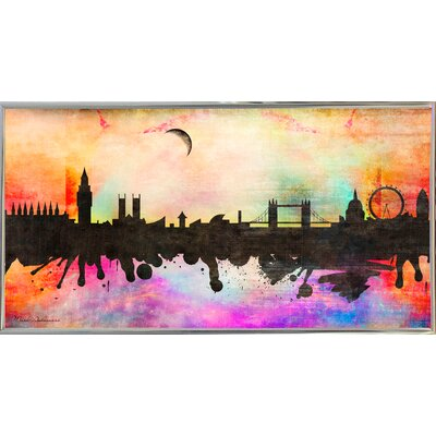 'London 1' Graphic Art Print Format: Silver Metal Framed Paper, Size: 15.5