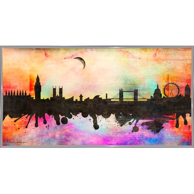 'London 1' Graphic Art Print Format: White Metal Framed Paper, Size: 15.5