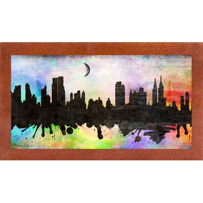 'New York 2' Graphic Art Print Format: Affordable Canadian Walnut Medium Framed Paper, Size: 15.5